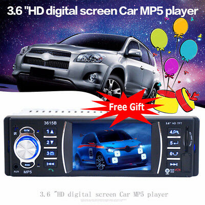 3.6'' inch 1 DIN Car Stereo Bluetooth Player FM Radio amplifier MP5 MP3 USB AUX
