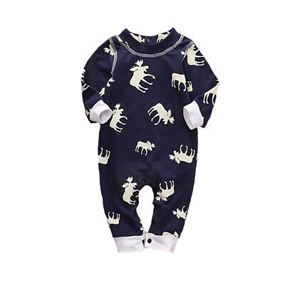 Rompers Newborn baby clothes Crawling clothes Long-sleeved Coverall Reindeer