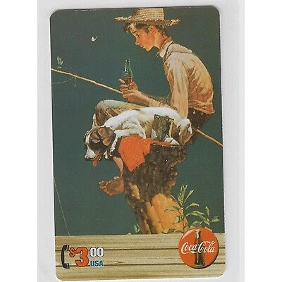 Coca Cola Coke Series 4 Sprint PhoneCard $3 card Norman Rockwell Boy Fishing
