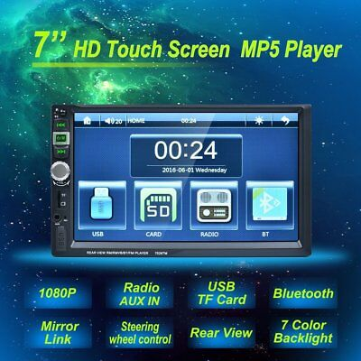 2DIN 7 HD Car Stereo Radio MP5 Player Bluetooth Touch Screen Rear Camera-inp LN