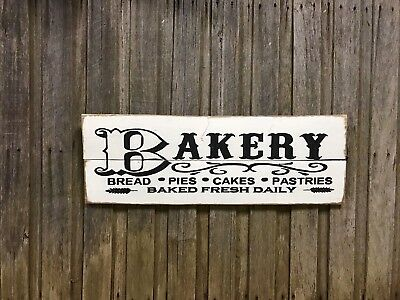 BAKERY H20cm x L60cm - Rustic Vintage Style Recycled Timber Sign