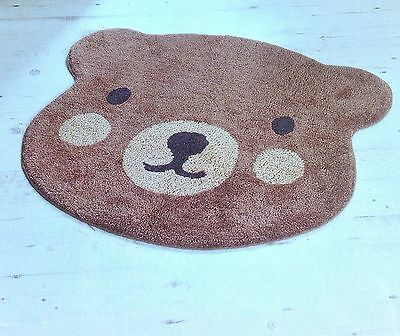 SALE! NURSERY RUG BROWN TEDDY BEAR HEAD SHAPED BROWN MULTI 100% COTTON 68x90 cm