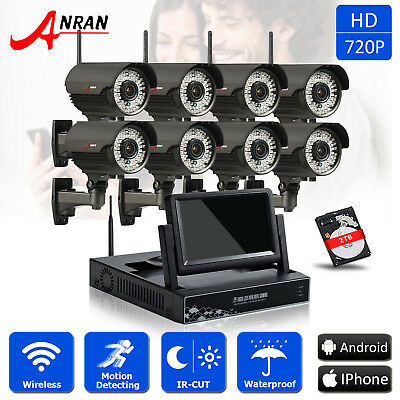 """ANRAN 8CH 720P HD WiFi Wireless CCTV Security System IP Zoom Camera 7""""LCD-M 2TB"""
