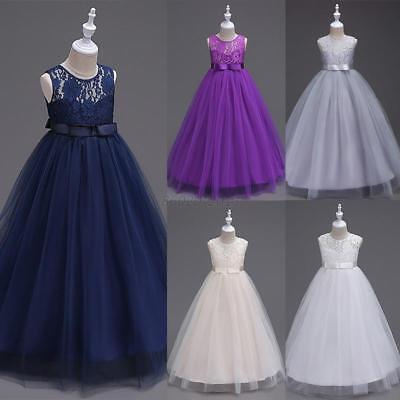 UK 1-14Y Kids Wedding Pageant Bridesmaid Party Birthday Dance Flower Girl Dress