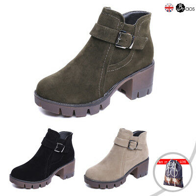 Womens Shoes Ladies Chelsea Chunky Block Heel Grip Sole Winter Ankle Boots Shoes