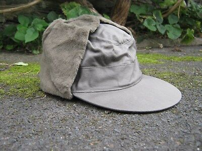 bcb21b0ab DUTCH ARMY COLD Weather Cap Trapper Hat Olive Green Fur lined Military  Surplus