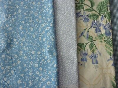New 5 Vintage Laura Ashley fabrics-Blue Fuchsia,Gingham, Sycamore, Cherries etc