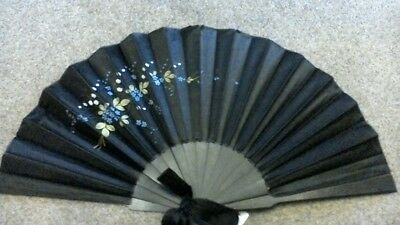 Victorian Large Black Silk Fan c1880, Hand Painted/Lily of the Valley