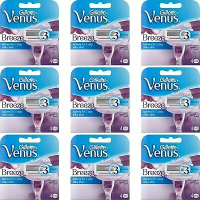 36 x Gillette Venus Breeze Women's Replacement Razor Blades with Shave Gel Bars
