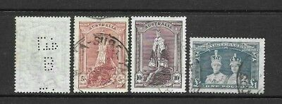 Australia -   1948, 5/- to £1 'Robes'  set of 3, + 5/- perfin, fine used