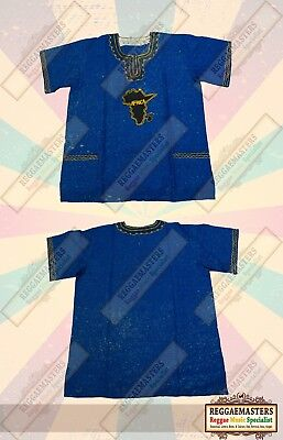 New Handmade Traditional Dashiki Africa Shirt Blue One Off Design - Culture
