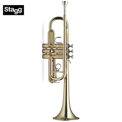 Stagg WS-TR255 Key of C Clear Lacquer Brass Trumpet with Mouthpiece and ABS Case