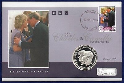 2005 Charles & Camilla Pnc Coin Cover 925 Silver Proof T D Cunha Gambia Stamp