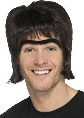 Mens Fancy Dress Party Costume Accessory 1990s Britpop Kit (Wig & Monobrow)