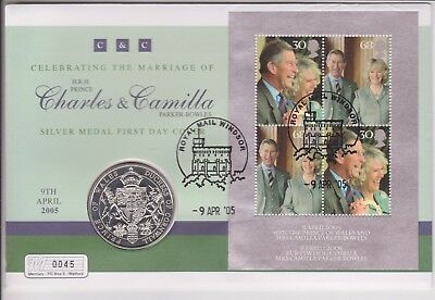 Gb 2005 Charles & Camilla Wedding Pnc Coin Cover 925 Silver Proof