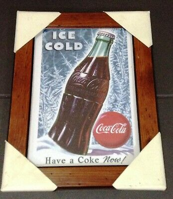 Coca Cola Stampa Originale Con Cornice In Legno Winter Collection 4 Of 4 Have...