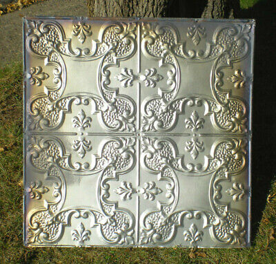 "24"" x 24"" Iridescent Antique Victorian Nouveau Ceiling Tin Tile Shabby Chic"