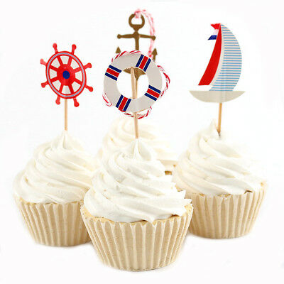 24x Navy Sailing Anchor Cupcake Topper For Boy Birthday Baby Shower Cake DecorFO