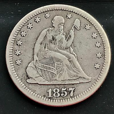 1857 O Seated Liberty Quarter Dollar 25c New Orleans RARE High Grade XF 4238