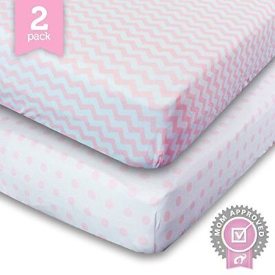 Ziggy Baby Crib Sheet Toddler Bedding Fitted Jersey Cotton 2 Pack Chevron Dot...
