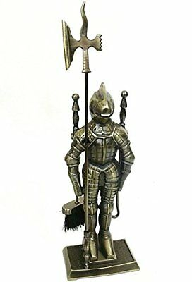 Middle Ages Knight Cast Iron Fireplace Tool Set Antique Brass Pokers Tools Sets