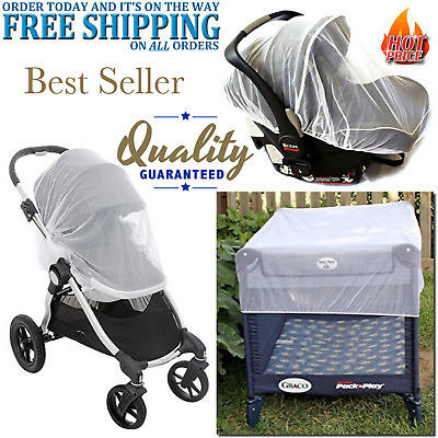 Mosquito Net Canopy Cover For Baby Infant Stroller Carriers Car Seats White Mesh