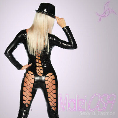Tuta Catsuit Overall Intera Effetto Bagnato NERO PVC Lucido wetlook fetish disco