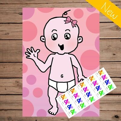 Pin the Dummy on the Baby - Baby Shower Game - 20 Player - Premium - Pink Girl
