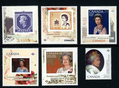 mca. QUEEN Diamond Jubilee full Set of 6 stamps from MiniSheets Canada 2012 MNH