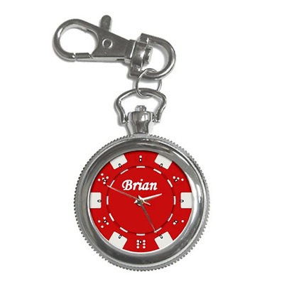 Red Poker Chip Casino Customised Name Keychain  Watch **brilliant Gift Item**