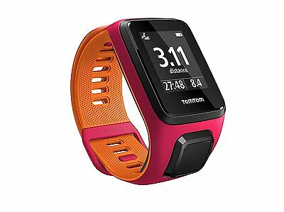 Tom Tom Runner 3 GPS Running Watch - Small Strap, Dark Pink/Orange