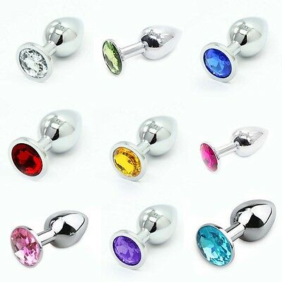 Hot Sale Multi color Insertion Butt Plug Anal Toy Stainless Steel Metal Jeweled
