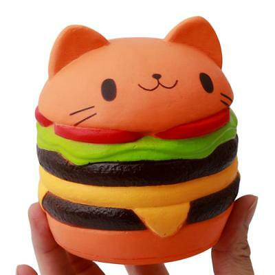 Jumbo Squishy Hamburger Cat Slow Rising Cartoon Soft Bread Scented Kids Toy JJ