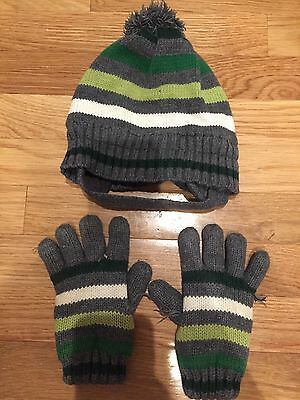 Boys 3T-4T Hat and glove set, winter, The childrens place,grey white green