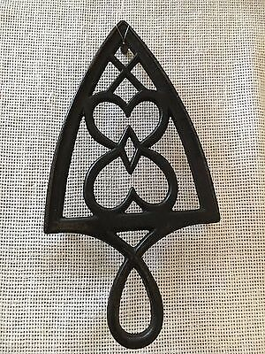 Trivet Black Wrought Iron Double Heart Antique