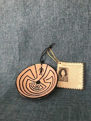 """Miniature Native American Christmas Ornament 3""""  Man in the Maze Clay Basket"""