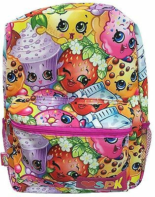 """New Shopkins Girls' All Over Print 16"""" Canvas Pink School Backpack"""