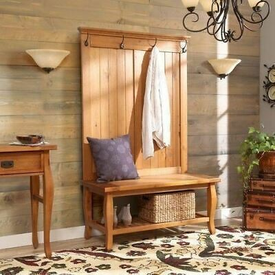 Natural Pine Wooden Hall Tree Coat Rack Hat Hooks Storage Stand Entryway Bench
