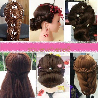 """18"""" 100% Real Human Hair Hairdressing Training Head Practice Mannequin & Clamp"""