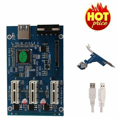 PCI-e Express 1X to 3 Port 1X Switch Multiplier HUB Riser Card +USB Cable LN