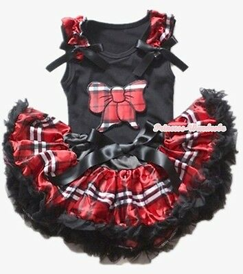 Baby Black Red Plaid Check Pettiskirt Plaid Kitty Bow Ruffles Bow Top 3-12Month