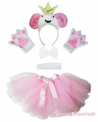 7a9dbd44e699 3D Pink Crown Sheep Goat Headband Bow Tail Paw Skirt 5p Kid School Party  Costume