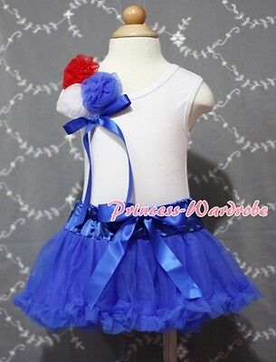 Newborn Baby Royal Blue Pettiskirt Tutu wif a Bunch of Rose White Top Set 3-12M
