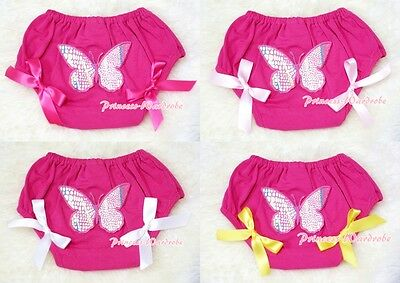 Hot Pink Bloomer Pantie wif Butterfly Print & Optional Bow 4 Pettiskirt 6m-3Year