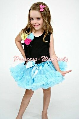 Newborn Baby Light Blue Pettiskirt a Bunch of colorful Rose Black Top Set 1-8Y