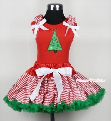 XMAS Red White Streak Pettiskirt Red Top Ruffle Bow with Christmas Tree Set 1-8Y