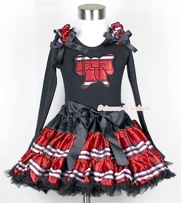 Black Red Plaid Pettiskirt with Plaid Kitty Bow Ruffle Bow Long Sleeve Top 1-8Y