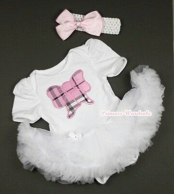 Pure White Jumpsuit Pink Plaid Bow Print with White Baby Girl Dress NB-12Month