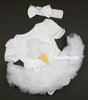 Infant Pure White Jumpsuit White Ice Cream with White Baby Girl Dress NB-12Month