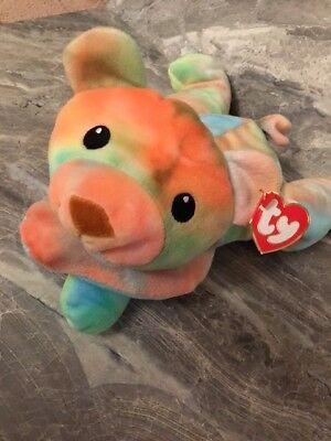 Ty SHERBET the pillow pal bear 1998 so colorful and cuddley! stuffed toy RARE!